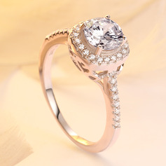 Sterling Silver Cubic Zirconia Dainty Halo Round Cut Engagement Rings Promise Rings (289224800)