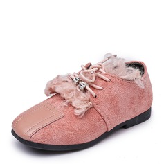 Girl's Closed Toe Suede Flat Heel Flats With Lace-up