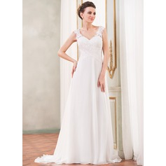 A-Line/Princess V-neck Sweep Train Chiffon Wedding Dress With Lace Beading Sequins