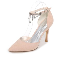 Women's Suede Stiletto Heel Pumps With Chain