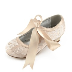 Jentas Round Toe Lukket Tå Mary Jane Blonder Silk Som Satin lav Heel Flower Girl Shoes