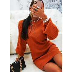 Round Neck Long Sleeves Solid Casual Long Sweater Dresses (1002264912)