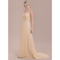 V-neck Court Train Chiffon Bridesmaid Dress With Ruffle