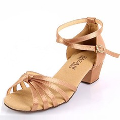 Kids' Satin Sandals Flats Latin Ballroom With Ankle Strap Dance Shoes