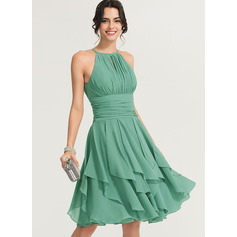 Scoop Neck Knee-Length Chiffon Cocktail Dress With Ruffle Cascading Ruffles (270197789)