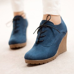 Women's Suede Wedge Heel Pumps Platform Wedges Boots Ankle Boots With Lace-up shoes