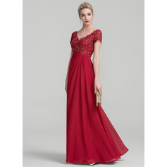 A-Line/Princess V-neck Floor-Length Chiffon Lace Mother of the Bride Dress With Ruffle Beading (008114230)
