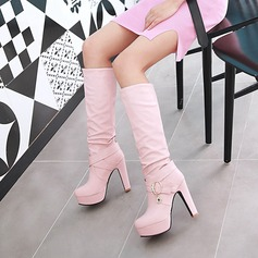 Women's Leatherette Stiletto Heel Pumps Platform Knee High Boots With Others shoes