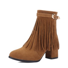Women's Suede Chunky Heel Pumps Ankle Boots With Tassel shoes