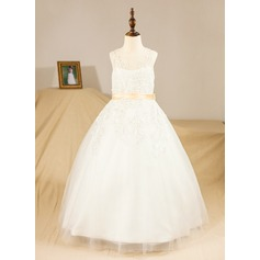 Ball Gown Floor-length Flower Girl Dress - Satin/Tulle Sleeveless Scoop Neck With Sash/Appliques/Bow(s)
