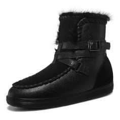 Women's Real Leather Flat Heel Flats Boots Snow Boots With Feather Buckle Braided Strap shoes