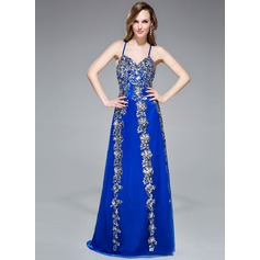 Trumpet/Mermaid V-neck Floor-Length Tulle Prom Dress With Appliques Lace Sequins