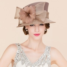 Ladies' Eye-catching Cambric With Feather Bowler/Cloche Hat (196086573)