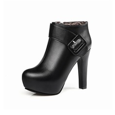 Women's Leatherette Stiletto Heel Platform Ankle Boots With Buckle Zipper shoes (088097367)