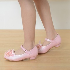 Girl's Leatherette Low Heel Round Toe Closed Toe Pumps With Buckle Imitation Pearl Satin Flower