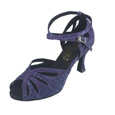 Women's Suede Heels Pumps Latin With Ankle Strap Dance Shoes
