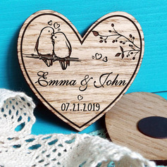 "Personalized Heart-shaped/""Cherry Blossom and Love Birds"" Wooden Save-the-date Magnets"