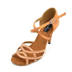 Women's Satin Sandals Pumps Latin With Hollow-out Dance Shoes