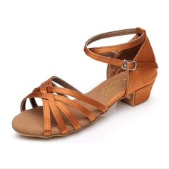 Kids' Satin Sandals Flats Latin With Ankle Strap Dance Shoes