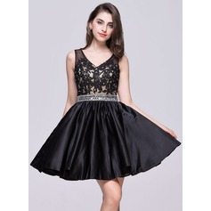 A-Line/Princess V-neck Short/Mini Satin Homecoming Dress With Beading Appliques Lace Sequins