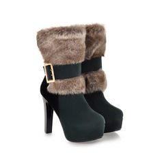 Women's Suede Stiletto Heel Platform Ankle Boots With Buckle Fur shoes
