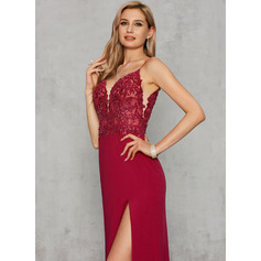 Sheath/Column V-neck Floor-Length Jersey Prom Dresses With Sequins