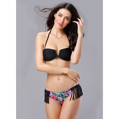 Beautiful Leopard Floral Solid Color Bikini