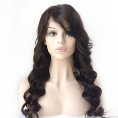 4A Non remy Loose Wavy Human Hair Full Lace Cap Wigs