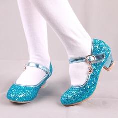 Jentas Round Toe Lukket Tå Leather Sparkling Glitter lav Heel Flate sko Flower Girl Shoes med Spenne