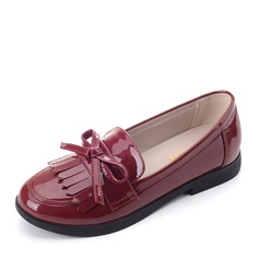 Girl's Leatherette Flat Heel Closed Toe Loafers & Slip-Ons Flats With Bowknot Tassel