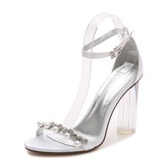 Women's Silk Like Satin Chunky Heel Peep Toe Pumps Sandals With Buckle Imitation Pearl