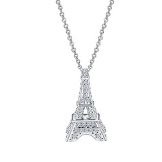 Eiffel Towers Copper/Zircon/Platinum Plated Ladies' Necklaces