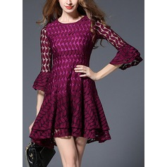 Lace With Lace/Embroidery/Hollow/Crumple/Ruffles Above Knee Dress (199133019)