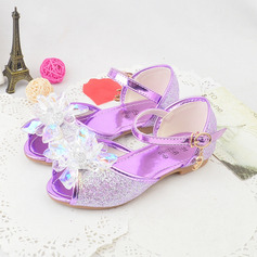 Girl Peep Toe Microfiber Leather Sandals Flower Girl Shoes With Buckle Rhinestone