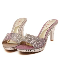 Women's Canvas Stiletto Heel Sandals Pumps Peep Toe Slingbacks Slippers With Rhinestone Beading Jewelry Heel shoes