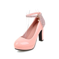 Women's Leatherette Chunky Heel Pumps Platform With Sparkling Glitter Buckle shoes