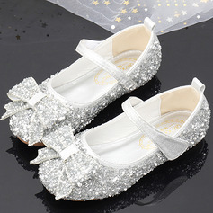 Girl's Round Toe Sparkling Glitter Flower Girl Shoes With Bowknot Crystal (207224864)