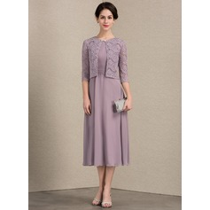 Scoop Neck Tea-Length Chiffon Mother of the Bride Dress With Ruffle (267196660)