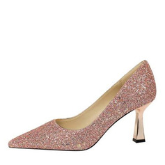 Women's PU Cone Heel Pumps With Sparkling Glitter shoes (085225430)