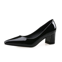 Women's Patent Leather Chunky Heel Pumps Closed Toe shoes (085074496)