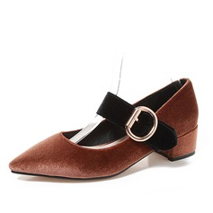 Women's Velvet Chunky Heel Mary Jane With Buckle shoes