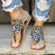Women's Leatherette Fabric Flat Heel Sandals With Animal Print Zipper shoes (087236313)