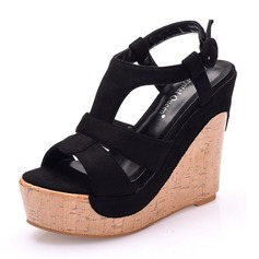 Women's Leatherette Fabric Wedge Heel Peep Toe Sandals Wedges With Hollow-out Button