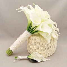Simple And Elegant Round PE/Lace Flower Sets - Boutonniere/Bridal Bouquets
