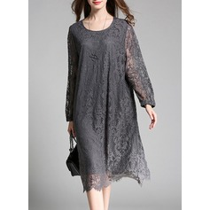 Lace With Stitching Knee Length Dress (199126867)