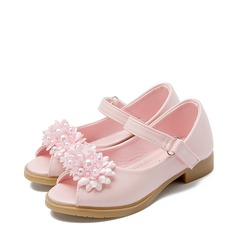 Girl's Round Toe Peep Toe Leatherette Flat Heel Sandals Flats Flower Girl Shoes With Beading Satin Flower Velcro Flower