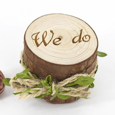 "Chic/Classic/""We Do"" Wood Ring Box With Rustic Twine"