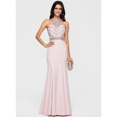 Trumpet/Mermaid Scoop Neck Sweep Train Stretch Crepe Prom Dresses With Beading Sequins