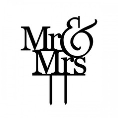 Mr. & Mrs. Acrylic Wedding Cake Topper/Bridal Shower Cake Topper