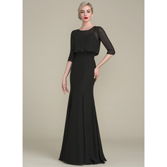 Trumpet/Mermaid Scoop Neck Floor-Length Chiffon Evening Dress With Ruffle (271194425)